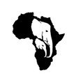 silhouette of black africa with elephant vector image vector image