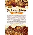 sketch bread poster for bakery shop vector image vector image