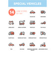 special vehicles - line design icons set vector image vector image