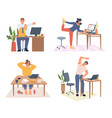 stretching employees working from home or office vector image vector image