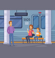 subway underground people cartoon composition vector image