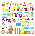 summer icons big set violet vector image