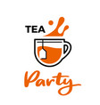 tea cup with splashes vector image vector image