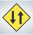 traffic sign two way ahead sign on white vector image vector image