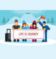traveler group photograph with mountain background vector image vector image
