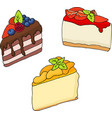 various cakes and pastries vector image
