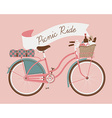 Vintage Poster of a Bike and a Picnic Basket vector image vector image