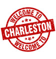 welcome to charleston red stamp vector image vector image