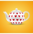 White ceramic teapot with hearts pattern vector image