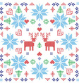 Xmas pattern in square shape with reindeers vector image vector image