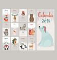 calendar 2018 cute monthly calendar with forest vector image