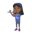 african-american little girl playing the flute vector image vector image