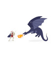 brave knight fighting with dragon flat vector image