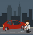 businessman use a jack to change a tire vector image vector image