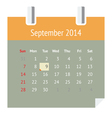 Calendar page for September 2014 vector image vector image