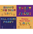 Cards with festive and party texts vector image vector image