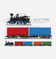 cargo train on a rail road vector image vector image