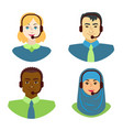 cartoon color characters people multiracial call vector image vector image