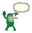cartoon crazy frog with speech bubble vector image vector image