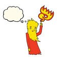 cartoon fire spirit with thought bubble vector image vector image