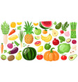 cartoon fruits and vegetables vegan lifestyle vector image vector image