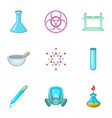 chemistry lesson icons set cartoon style vector image vector image