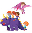 children with dinosaur on white background vector image