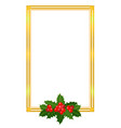 christmas golden frame card with holly leaves vector image vector image