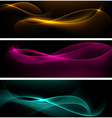 Dark glow banners with color waves vector image vector image