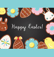 easter background with cookies on black board top vector image vector image