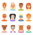 face paint kids children portrait vector image