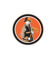 Fireman Firefighter Holding Fire Axe Circle vector image vector image