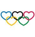 five multicolored heart shape symbol olympiad vector image