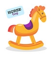 flat wooden rocking horse kids toy isolated vector image