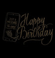 hand drawn chalk lettering happy birthday vector image vector image