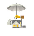 hand with umbrella that protects house money vector image