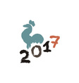 Inking or gouache rooster silhouette Grunge style vector image vector image