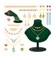 jewelry set stylish rings bracelets with diamonds vector image vector image