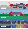 Korean Culture 3 Flat banners Set vector image vector image