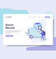 landing page template search records concept vector image