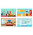 living room kitchen bedroom stylish bathroom vector image vector image