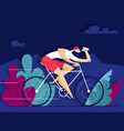 man rides a bike and drinks water vector image