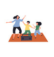 mom and kids boy and girl dancing together vector image