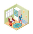 nursery interior isometric father and son in kids vector image vector image