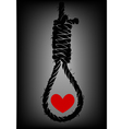 Old rope with hangmans noose and heart vector image