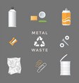 recycle metal waste management set vector image