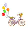 retro purple bicycle with colorful air balloons