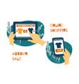 sale consumerism online shoping concept vector image vector image