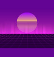 sci-fi neon sunset in the style of 80s synthwave vector image