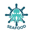 seafood delivery emblem with octopus and steering vector image vector image